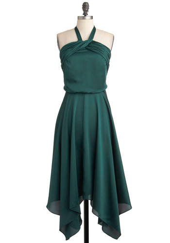 Spruce or Dare Dress - Long, Green, Solid, Halter, Vintage Inspired, Prom, Cocktail