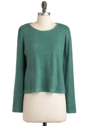 Better With a Sweater - Green, Solid, Casual, Long Sleeve, 90s, Winter, Short
