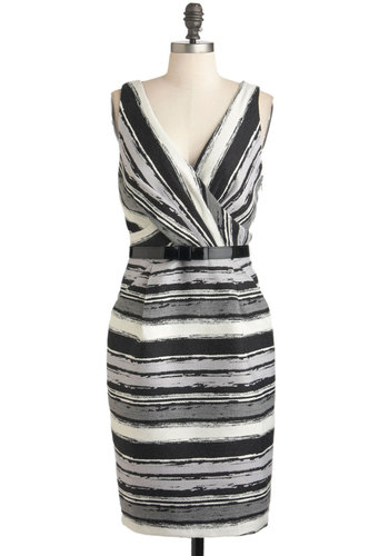 True to Formation Dress by Eva Franco - Multi, Black, Grey, White, Stripes, Luxe, Sheath / Shift, Sleeveless, Long, Belted, Work, Cocktail, Pleats, Pockets, V Neck