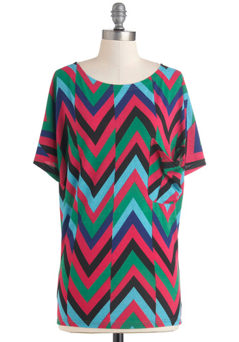 Glisten to the Beat Top - Multi, Green, Blue, Pink, Black, Pockets, Short Sleeves, Print, Casual, Vintage Inspired, 80s, Neon, Coral, Mid-length