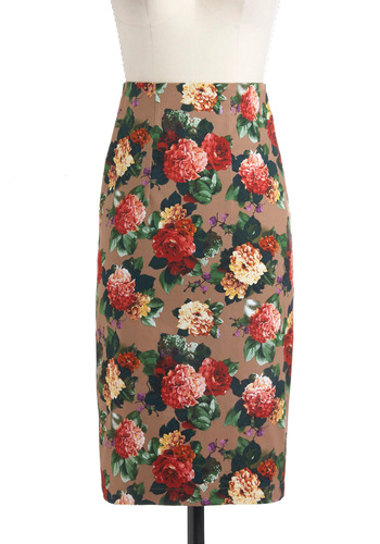 Blooms to Fill the Room Skirt by Louche - Cotton, Long, Tan, Red, Yellow, Green, Floral, Pencil, Party, Work, Pinup, Vintage Inspired, Spring, High Waist, International Designer, Tis the Season Sale