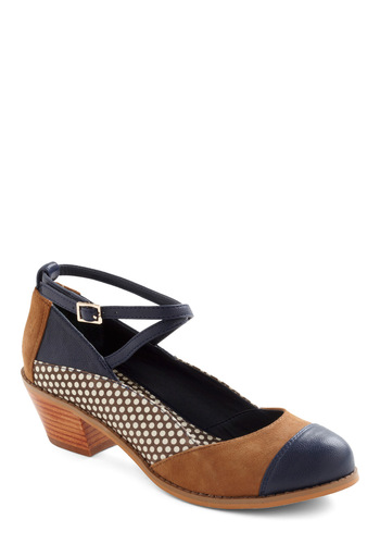 Sensational Seminar Heel by Shellys of London - Mid, Leather, Suede, Polka Dots, Multi, Blue, Tan / Cream, White, Casual, International Designer