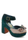 Lively Ivy Heel by Shellys of London - Mid, Leather, Suede, Green, Gold, Bows, Glitter, Platform, Chunky heel, Party, Holiday Party, Vintage Inspired, 70s, Luxe, International Designer