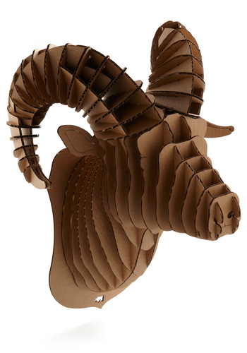 Think Bighorn Ram Trophy - Brown, Dorm Decor, Quirky