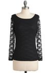 Lace Stay Together Top - Mid-length, Black, Solid, Lace, Long Sleeve, Sheer, Boat
