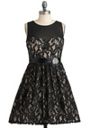 All the Mingle Ladies Dress - Black, Tan / Cream, Lace, Rhinestones, Belted, Special Occasion, Cocktail, A-line, Sleeveless, Prom