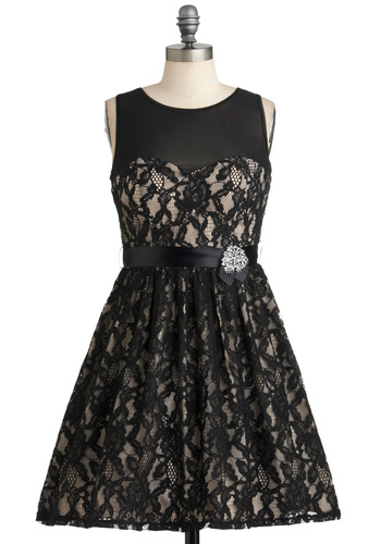 All the Mingle Ladies Dress - Black, Tan / Cream, Lace, Rhinestones, Belted, Formal, Cocktail, A-line, Sleeveless, Prom