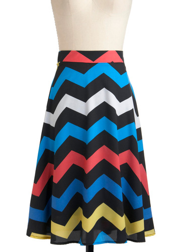 Electric Zigzag Skirt - Multi, Red, Yellow, Blue, White, A-line, Casual, Vintage Inspired, 70s, Long