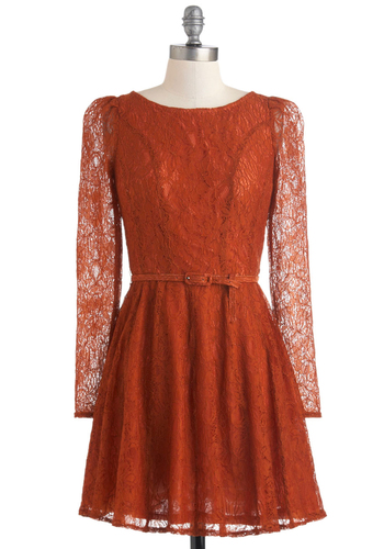 Flourish De Lis Dress in Cinnamon - Short, Sheer, Orange, Solid, Lace, Belted, Party, A-line, Long Sleeve, Fall