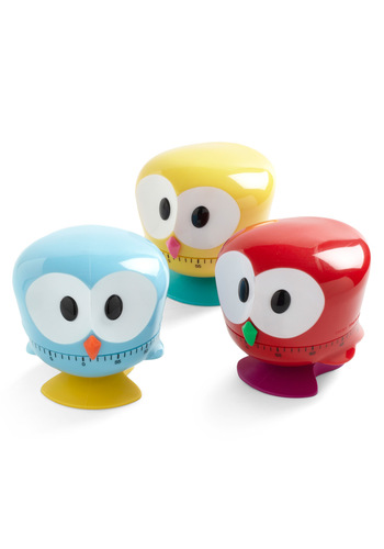 Beak the Clock Kitchen Timer by Kikkerland - Red, Yellow, Blue, Owls, Variation