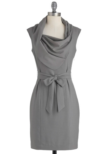 New Hire and Higher Dress in Slate - Mid-length, Solid, Work, Shift, Sleeveless, Belted, Grey, Exclusives, Scholastic/Collegiate, Cowl, Variation