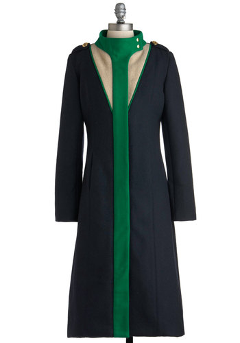 Lauren Moffatt Portland and Starboard Coat by Lauren Moffatt - Long, Blue, Green, Long Sleeve, 5, Tan / Cream, Epaulets, Winter