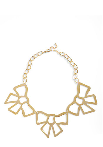 Bow a Dear Necklace - Gold, Solid, Bows, Party, Statement, Mod