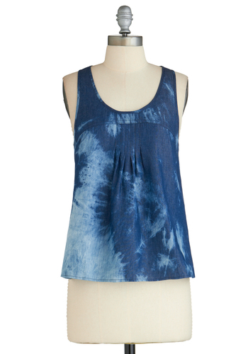 Sample 2314 - Blue, Tie Dye, Casual, Tank top (2 thick straps), Denim