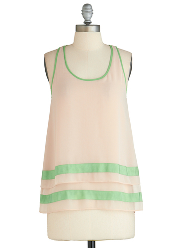 Sample 2318 - Pink, Green, Stripes, Tiered, Racerback