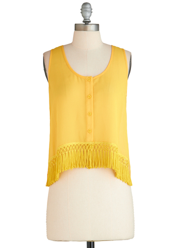 Sample 2316 - Yellow, Solid, Buttons, Fringed, Tank top (2 thick straps)
