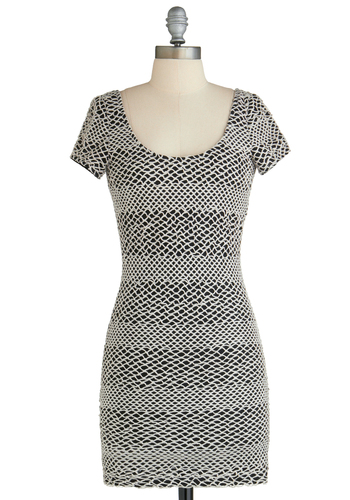 Sample 2313 - White, Black, Bodycon / Bandage, Short Sleeves, Backless