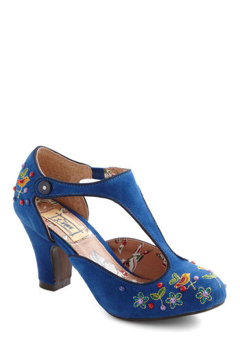 Vivid Visit Heel by Miss L Fire - Blue, Multi, Embroidery, Flower, Mid, Floral, Beads, Party, Vintage Inspired, 20s, Folk Art, Best, T-Strap, Top Rated