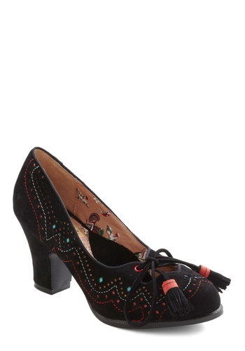 Taking It Oslo Heel by Miss L Fire - Mid, Leather, Black, Multi, Tassles, Party, Casual, Vintage Inspired, Luxe, Folk Art, Fall, Winter, International Designer