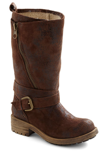 Tread Agreement Boot - Brown, Buckles, Exposed zipper, Low, Rustic, Faux Leather
