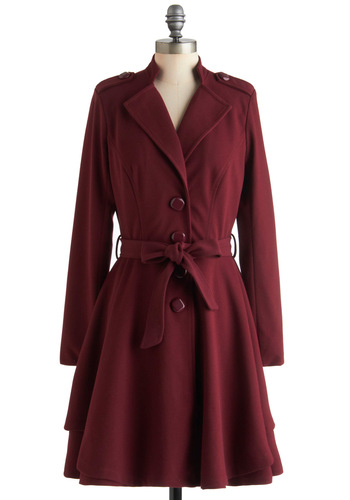 Plum Enchanted Evening Coat by Darling - Long, Red, Solid, Buttons, Pockets, Fit & Flare, Long Sleeve, 2, Epaulets, Belted