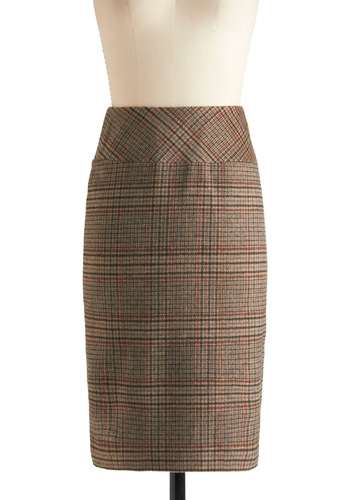 Plaid  to Your Resume Skirt by Pink Martini - Mid-length, Red, Black, Plaid, Work, Pencil, Tan, Fall, High Waist
