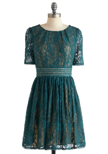 Long Time No Sea Dress by Darling - Mid-length, Green, Exposed zipper, Lace, Party, A-line, Short Sleeves, Solid, Holiday Party, Cocktail