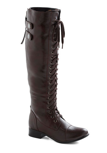 Jill Be Nimble Boot - Brown, Solid, Steampunk, Low, Lace Up, Faux Leather, Variation
