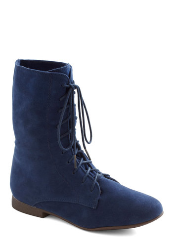 Lady in Rad Boot in Navy - Blue, Solid, Flat, Lace Up, Casual, Fall, Variation, Best Seller, Winter
