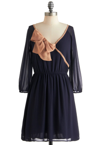 Tie to Be True Dress - Mid-length, Blue, Pink, Bows, Party, Vintage Inspired, A-line, 3/4 Sleeve, Sheer, V Neck, Top Rated