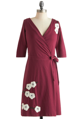 Magnolia Blossom Dress in Wrap - Cotton, Mid-length, Red, White, Floral, Embroidery, Casual, Wrap, 3/4 Sleeve, Holiday Sale, Eco-Friendly