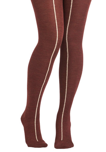 Maple Candy Stand Tights by Hansel from Basel - Tan / Cream, Yellow, Stripes, Casual, Fall