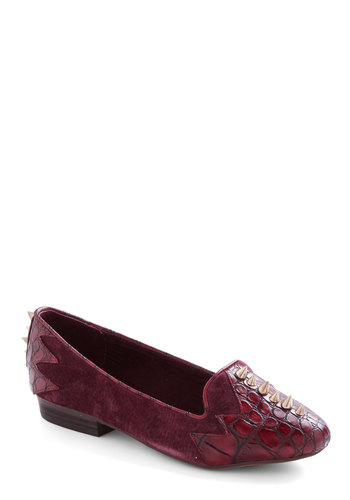 Croc and Roll Flat by Shellys of London - Low, Leather, Suede, Faux Leather, Red, Animal Print, Studs, Menswear Inspired, International Designer