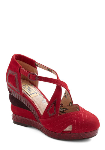 Strati-form of Flattery Wedge by Miss L Fire - Wedge, Mid, Red, Brown, Platform, Animal Print, Casual, Leather, International Designer