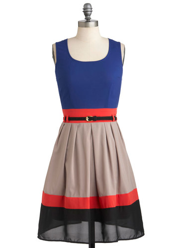 Par for the Courses Dress - Mid-length, Sheer, Red, Blue, Tan / Cream, Black, Belted, Party, Colorblocking, A-line, Tank top (2 thick straps), High-Low Hem
