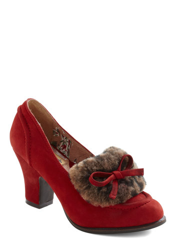 Moscow by Morning Heel by Miss L Fire - Mid, Leather, Suede, Red, Bows, Brown, Casual, Vintage Inspired, Winter