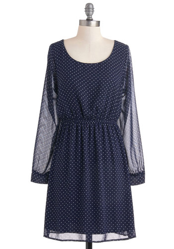 First in Classic Dress - Blue, White, Polka Dots, Party, Vintage Inspired, A-line, Long Sleeve, Chiffon, Sheer, Mid-length, Winter