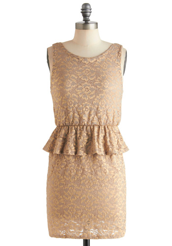 Gold-Fashioned Dress - Gold, Solid, Lace, Cocktail, 40s, Peplum, Sleeveless, Short, Holiday Party, Vintage Inspired, Glitter, Wedding, Bridesmaid, Bride