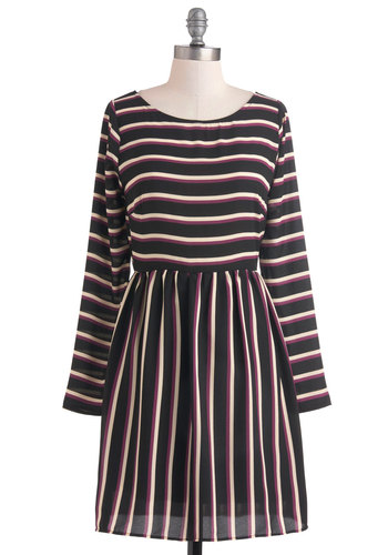 Friday Morning Meeting Dress - Stripes, Casual, A-line, Long Sleeve, Mid-length, Purple, Tan / Cream, Black, Vintage Inspired, Sheer