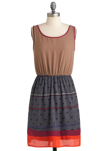 Absolutely Positive Dress - Blue, Print, Casual, Sleeveless, Fall, Mid-length, Twofer, Red, Brown
