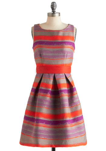 Haute Horizon Dress by Eva Franco - Multi, Purple, Grey, Stripes, Party, Luxe, A-line, Sleeveless, Mid-length, Orange, Belted, Cocktail, Coral, Fit & Flare