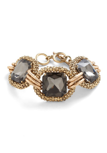 Opt for Opulence Bracelet - Gold, Vintage Inspired, Grey, Cocktail, Holiday Party