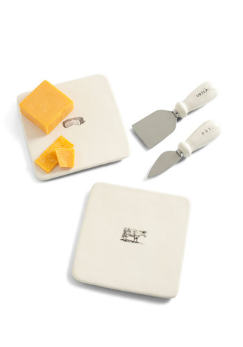 Cheese and Thank You Serving Set - White, Vintage Inspired, Minimal