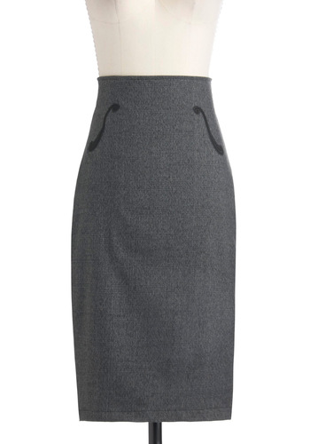 Viola, Senorita Skirt - Grey, Work, Pencil, Long, Pinup, Vintage Inspired, High Waist