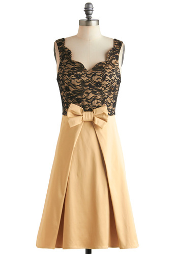 Live, Love, Lavender Dress in Gold - Bows, Lace, Pleats, Vintage Inspired, A-line, Sleeveless, Long, Gold, Black, Cocktail, Party, Holiday Party, Film Noir, Fit & Flare