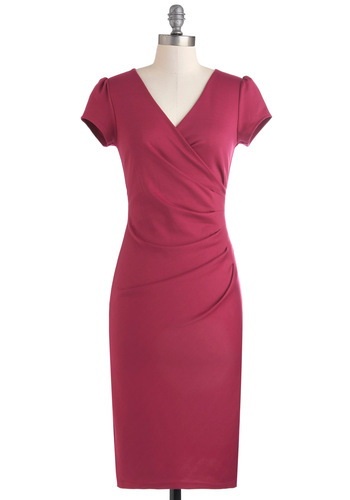I Think I Can Dress in Magenta - Pink, Solid, Cocktail, Shift, Work, Cap Sleeves, Holiday Party, V Neck, Variation, Ruching, Long