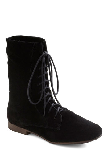 Lady in Rad Boot in Ink - Black, Solid, Lace Up, Casual, Fall, Faux Leather, Low, Variation, Best Seller, Winter
