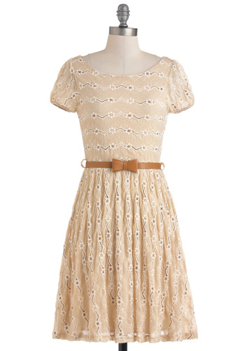 Dramatic Monologue Dress - Cream, Floral, Embroidery, Casual, A-line, Short Sleeves, Mid-length, Belted, Bows, Lace