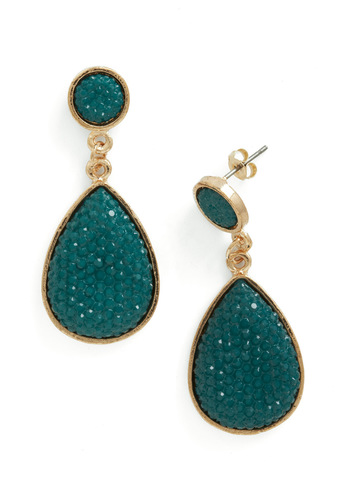 Droplet Like It's Haute Earrings in Forest - Green, Gold, Rhinestones, Party, Vintage Inspired, Statement, Holiday Party