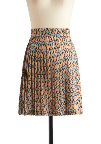 One Cool Chickadee Skirt - Mid-length, Orange, Blue, Brown, Pleats, A-line, Print with Animals